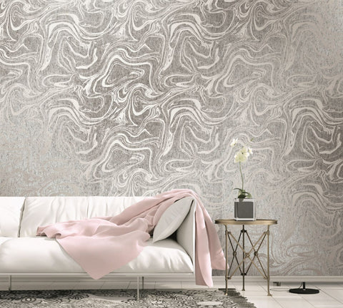 Oil and Water Cork Wallpaper in Silver and Off-White from the Casa Blanca II Collection by Seabrook Wallcoverings