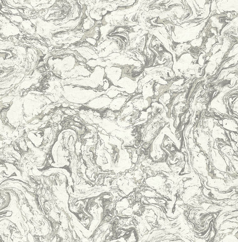 Oil and Water Wallpaper in Black and White from the Caspia Collection by Wallquest