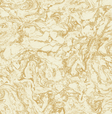 Oil and Water Wallpaper in Gold from the Caspia Collection by Wallquest
