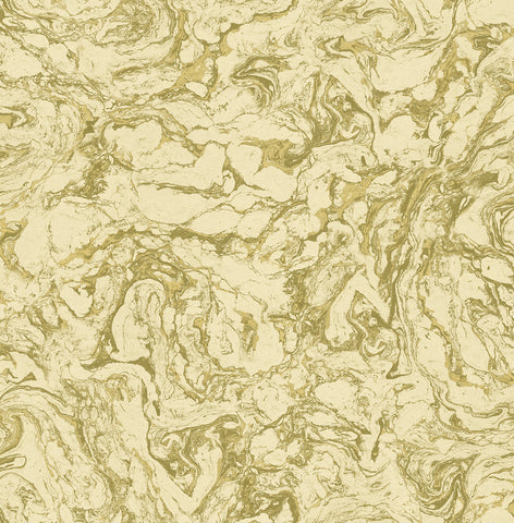Oil and Water Wallpaper in Green and Gold from the Caspia Collection by Wallquest