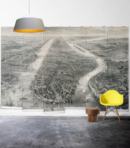 Old Manhattan Wall Mural from the Erstwhile Collection by Milton & King