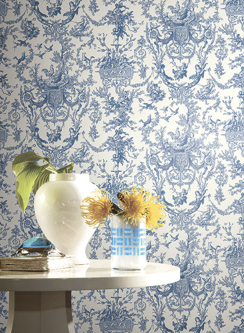 Old World Toile Wallpaper In Black And White By Ashford