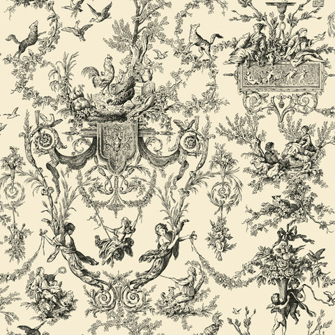 Old World Toile Wallpaper in Black and Cream by Ashford House for York Wallcoverings