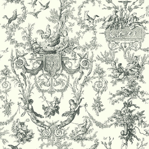 Old World Toile Wallpaper in Black and White by Ashford House for York Wallcoverings