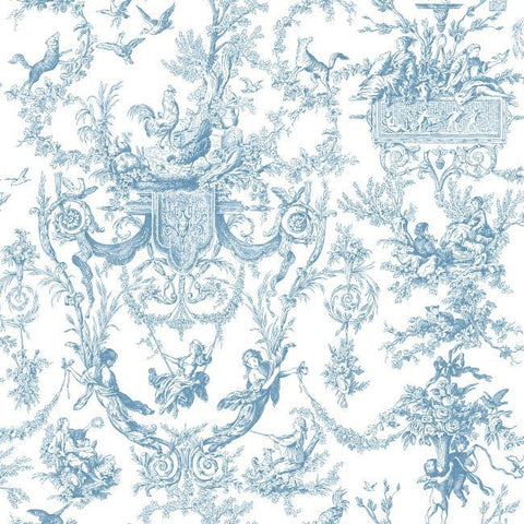 Old World Toile Wallpaper in Blue by Ashford House for York Wallcoverings