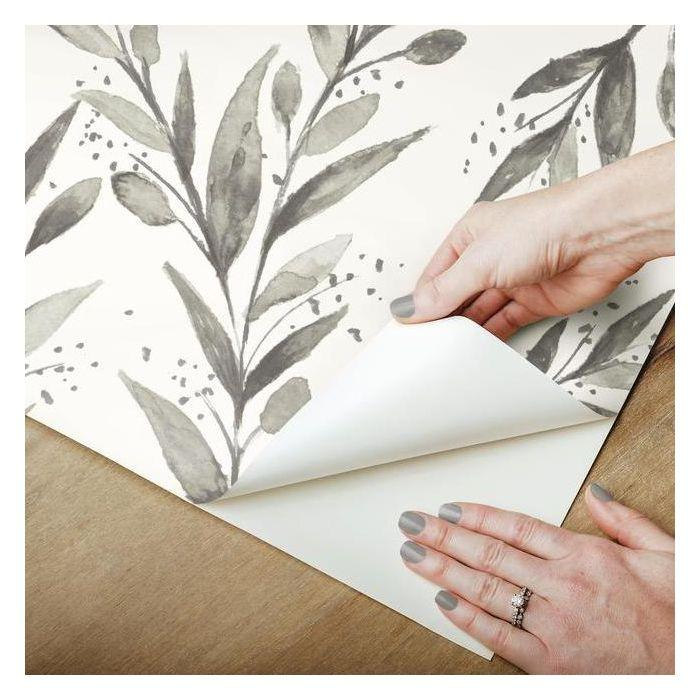 Olive Branch Peel & Stick Wallpaper in Charcoal by Joanna Gaines for York Wallcoverings