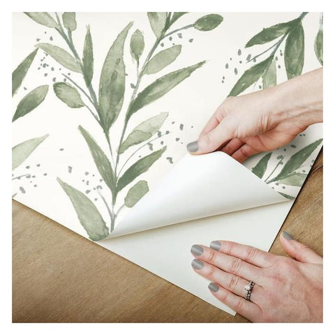 Olive Branch Peel & Stick Wallpaper in Olive by Joanna Gaines for York Wallcoverings
