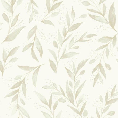 Olive Branch Wallpaper in Beige from Magnolia Home Vol. 2 by Joanna Gaines