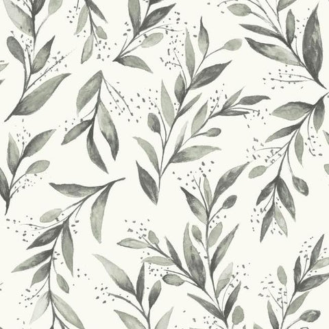 Olive Branch Wallpaper in Charcoal from Magnolia Home Vol. 2 by Joanna Gaines