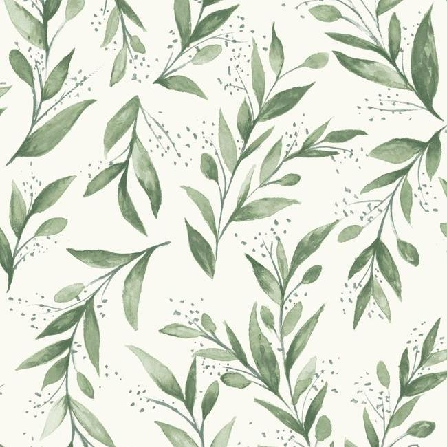 Olive Branch Wallpaper in Olive Grove from Magnolia Home Vol. 2 by Joanna Gaines