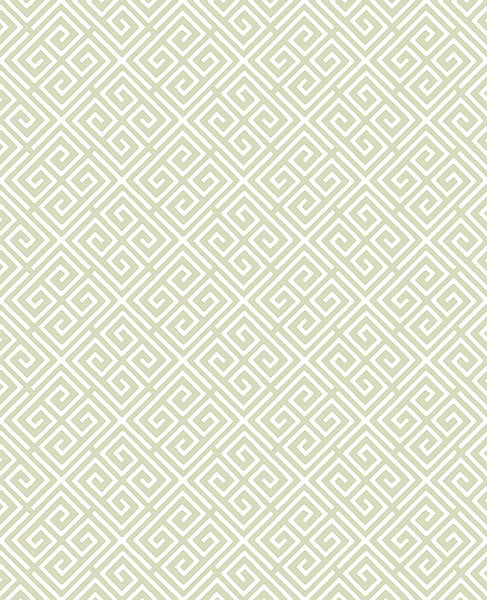 Sample Omega Green Geometric Wallpaper from the Symetrie Collection by Brewster Home Fashions