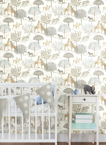 On The Savanna Wallpaper in Neutral from the A Perfect World Collection by York Wallcoverings