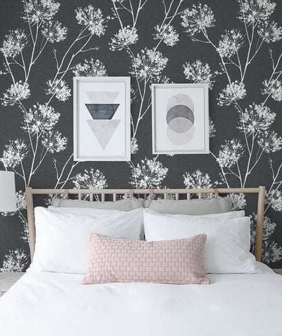 One O'Clocks Peel-and-Stick Wallpaper in Charcoal by NextWall