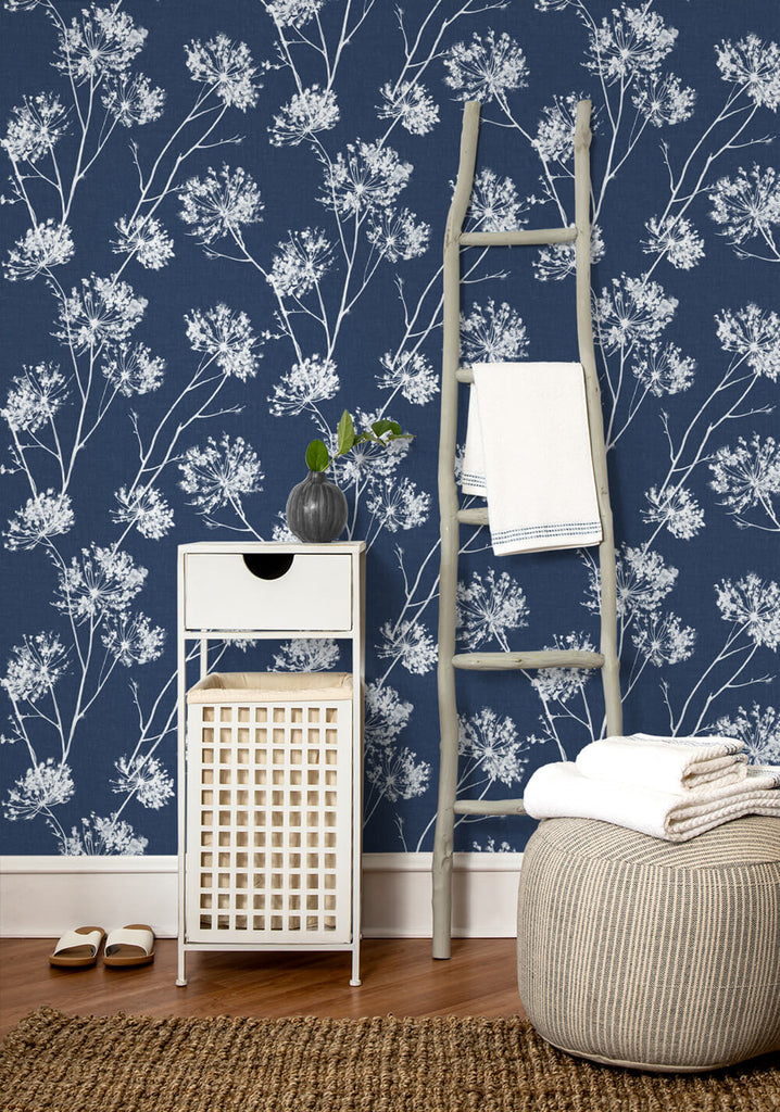 One O'Clocks Peel-and-Stick Wallpaper in Denim Blue by NextWall