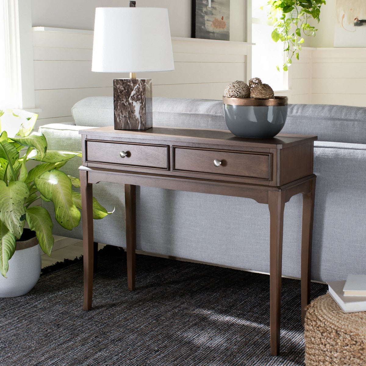 Opal 2 Drawer Console Table In Brown Burke Decor