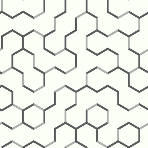 Open Geometric Peel & Stick Wallpaper in Black by RoomMates for York Wallcoverings
