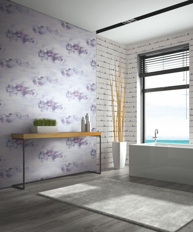 Ophelia Wallpaper in Lilac and Silver from the Solaris Collection by Mayflower Wallpaper