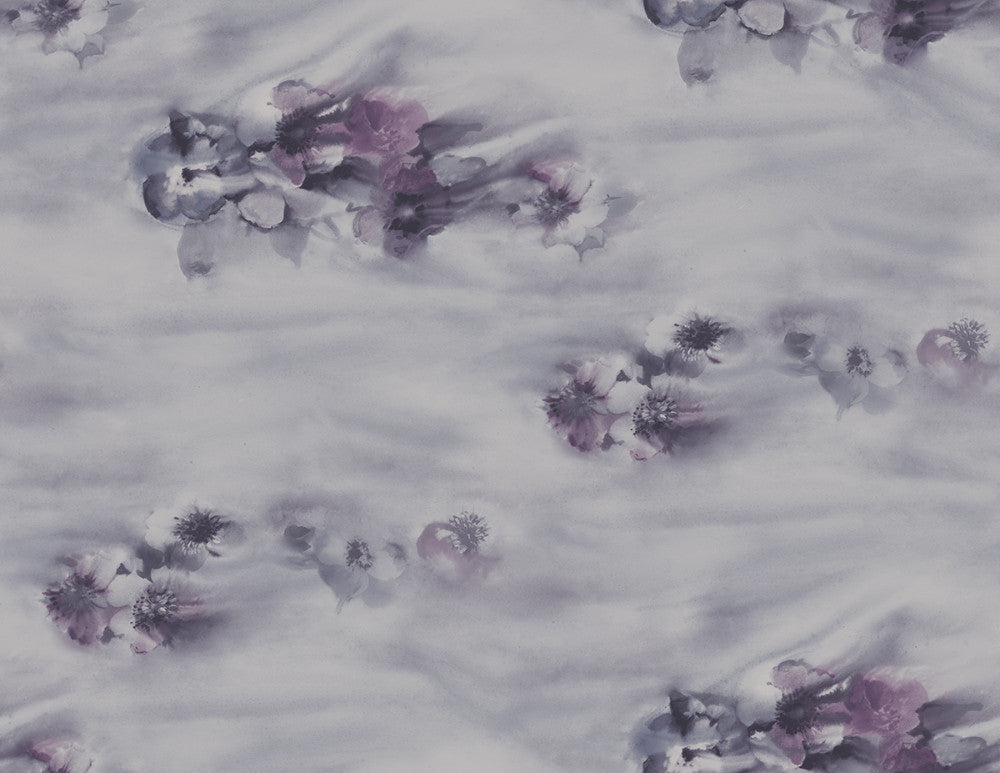 Sample Ophelia Wallpaper in Lilac and Silver from the Solaris Collection by Mayflower Wallpaper
