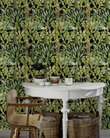 Opuntia Wallpaper in Green and Anthracite from the Rediscovered Paradise Collection by Mind the Gap