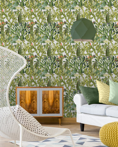 Opuntia Wallpaper in Green and Taupe from the Rediscovered Paradise Collection by Mind the Gap