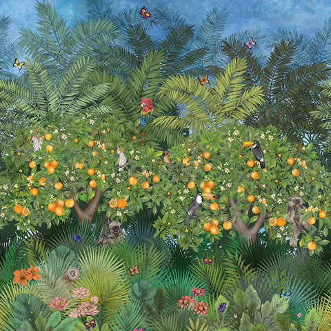 Orange Grove Wallpaper in Multi from the Daydreams Collection by Matthew Williamson for Osborne & Little