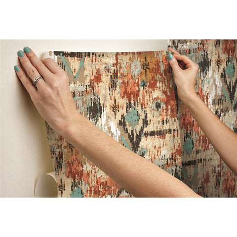 Orange Aztec Peel & Stick Wallpaper by RoomMates for York Wallcoverings