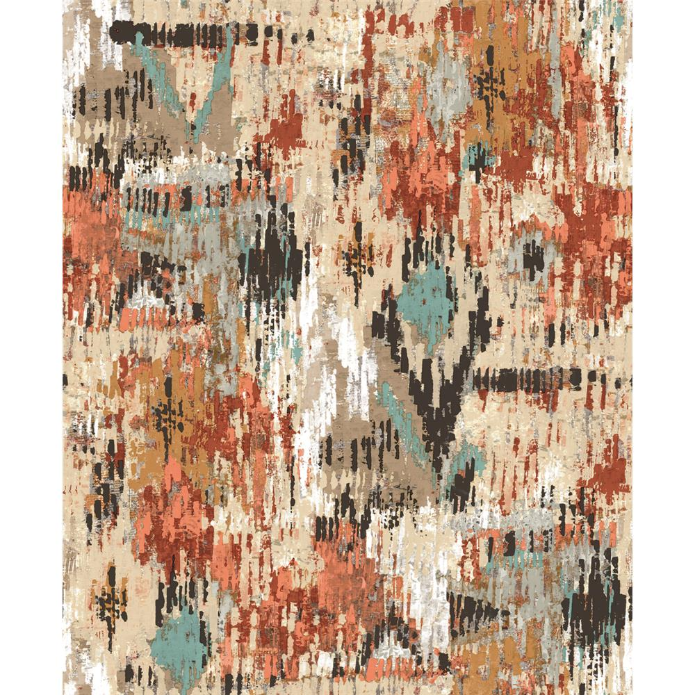 Sample Orange Aztec Peel & Stick Wallpaper by RoomMates for York Wallcoverings
