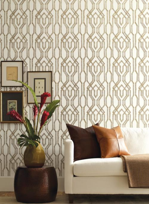 Oriental Lattice Wallpaper from the Tea Garden Collection by Ronald Redding for York Wallcoverings