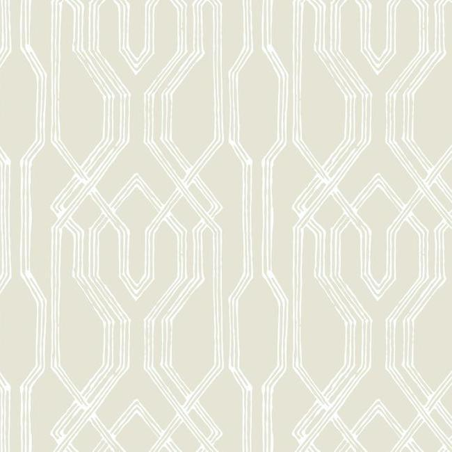 Oriental Lattice Wallpaper in Beige and Ivory from the Tea Garden Collection by Ronald Redding for York Wallcoverings