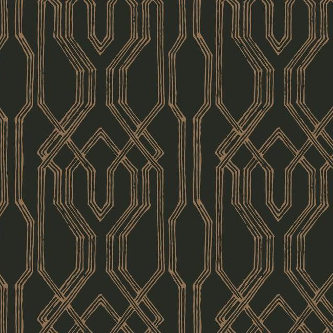 Oriental Lattice Wallpaper in Black and Gold from the Tea Garden Collection by Ronald Redding for York Wallcoverings