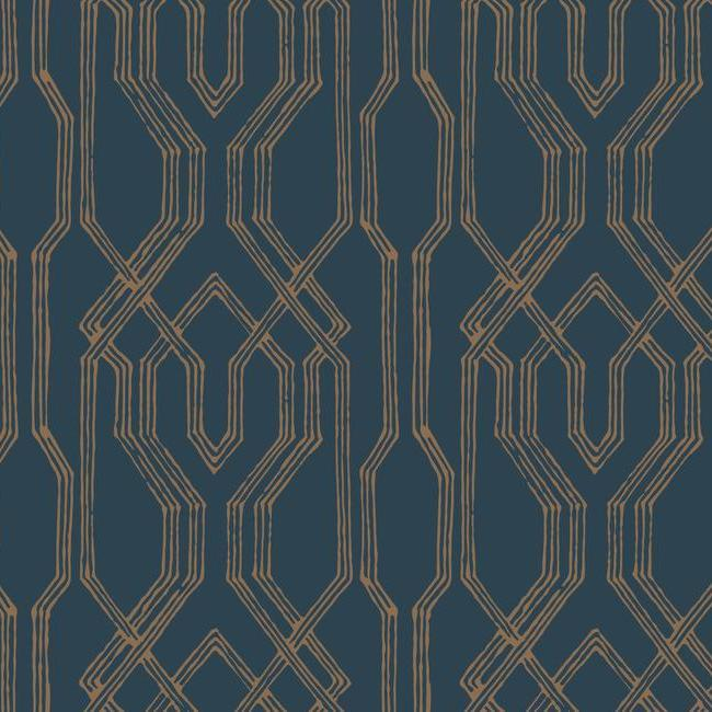 Oriental Lattice Wallpaper in Blue and Gold from the Tea Garden Collection by Ronald Redding for York Wallcoverings