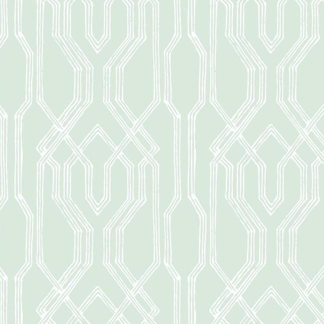 Oriental Lattice Wallpaper in Green and Ivory from the Tea Garden Collection by Ronald Redding for York Wallcoverings
