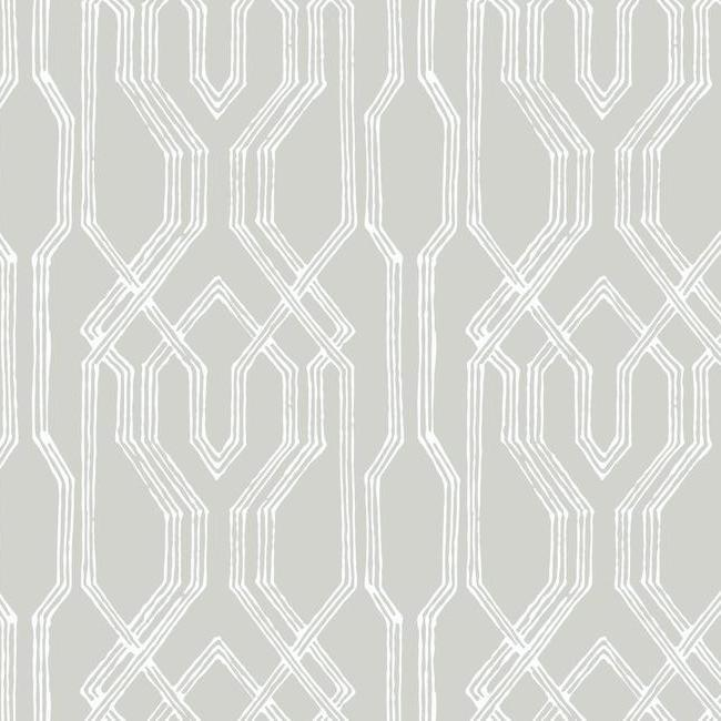 Oriental Lattice Wallpaper in Taupe and Ivory from the Tea Garden Collection by Ronald Redding for York Wallcoverings