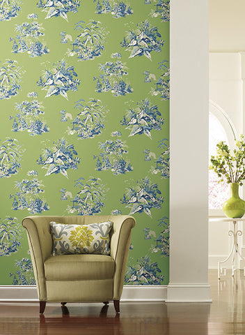 Oriental Scenic Wallpaper by Ashford House for York Wallcoverings