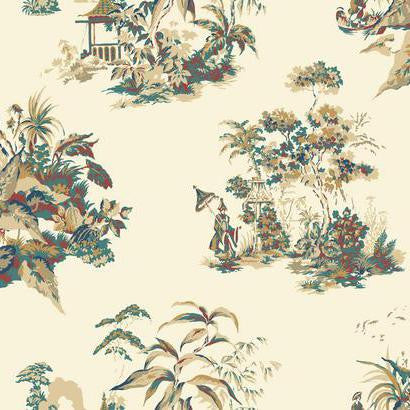 Oriental Scenic Wallpaper in Blue, Red, and Gold by Ashford House for York Wallcoverings