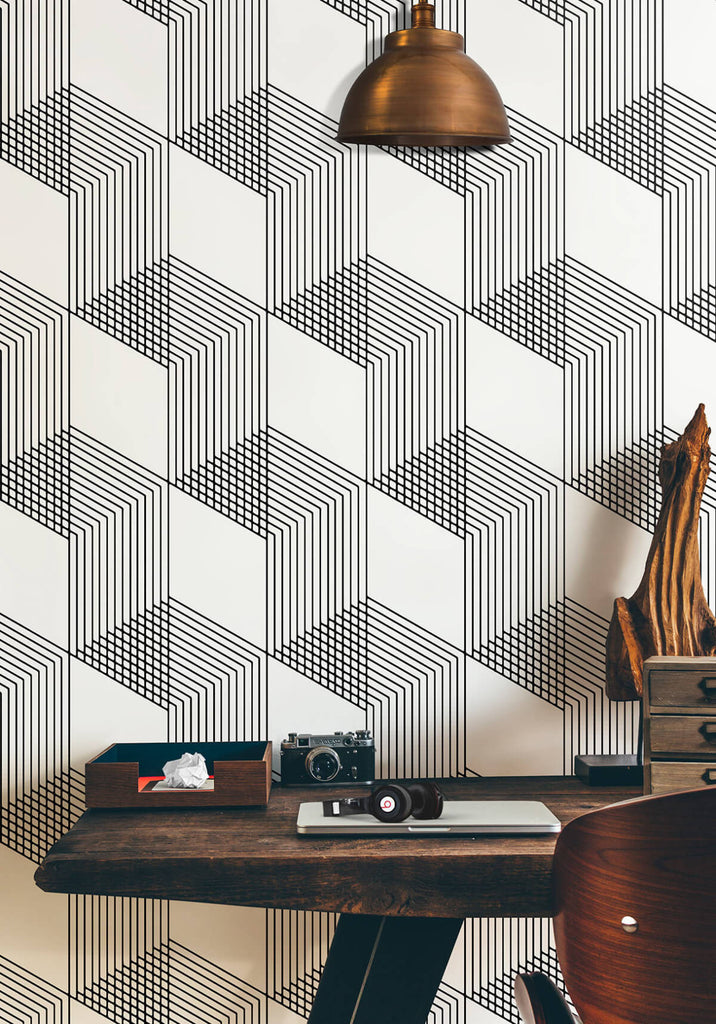 Origami Wallpaper in Black and White from the Ella & Sofia Collection by Milton & King