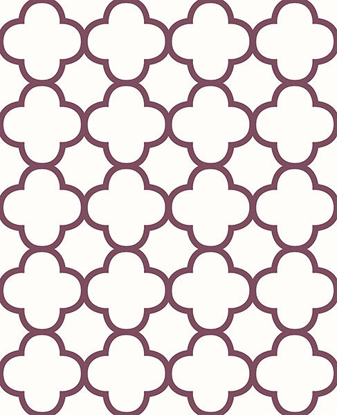 Sample Origin Burgundy Quatrefoil Wallpaper from the Symetrie Collection by Brewster Home Fashions