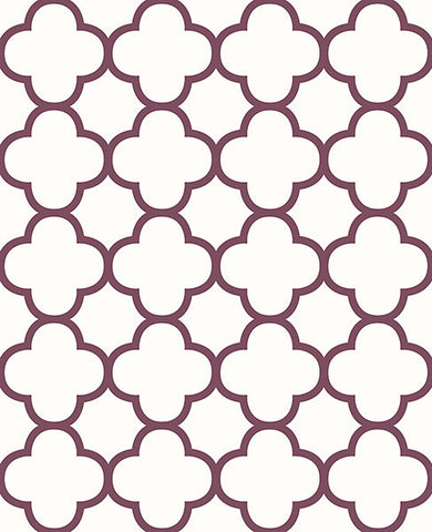 Origin Burgundy Quatrefoil Wallpaper from the Symetrie Collection by Brewster Home Fashions