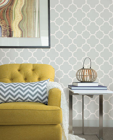 Origin Mint Quatrefoil Wallpaper from the Symetrie Collection by Brewster Home Fashions