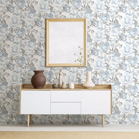 Orla Floral Wallpaper in Blue from the Bluebell Collection by Brewster Home Fashions