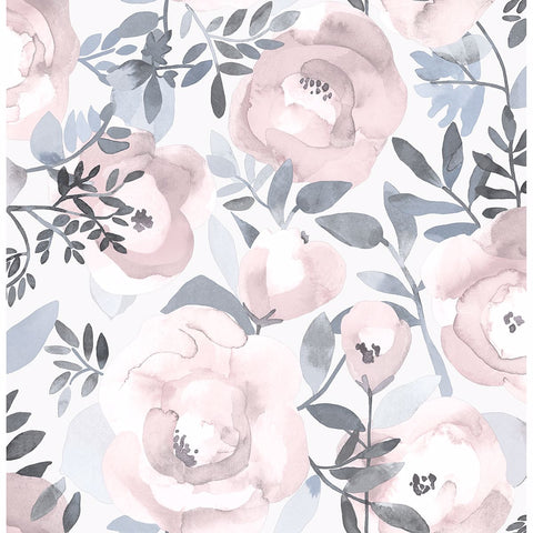 Orla Floral Wallpaper in Purple from the Bluebell Collection by Brewster Home Fashions