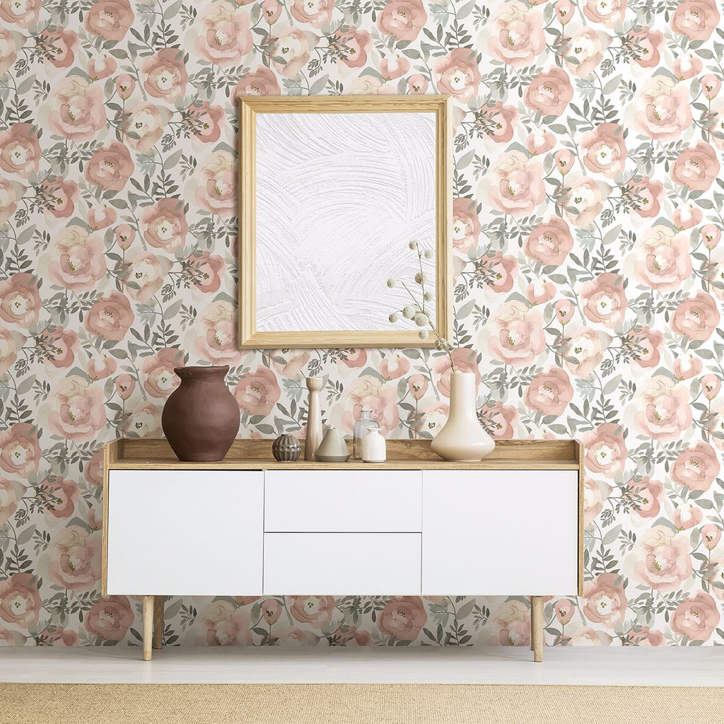 Orla Floral Wallpaper in Rose from the Bluebell Collection by Brewster Home Fashions
