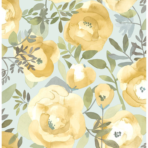 Orla Floral Wallpaper in Yellow from the Bluebell Collection by Brewster Home Fashions