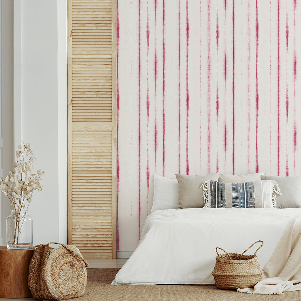 Orleans Shibori Faux Linen Wallpaper in Pink from the Pacifica Collection by Brewster Home Fashions