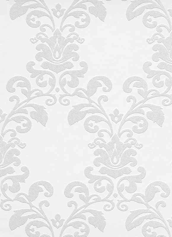 Sample Ornamental Floral Paintable Wallpaper in White design by BD Wall