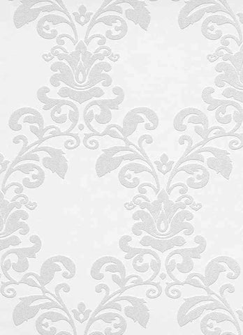 Ornamental Floral Paintable Wallpaper in White design by BD Wall