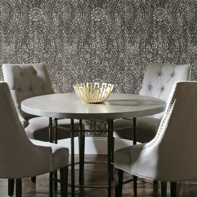 Ornate Ogee Peel & Stick Wallpaper in Black by RoomMates for York Wallcoverings