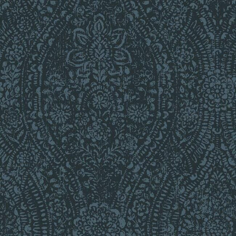 Ornate Ogee Peel & Stick Wallpaper in Dark Blue by RoomMates for York Wallcoverings