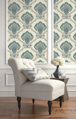 Ornate Fanned Damask Wallpaper from the Caspia Collection by Wallquest
