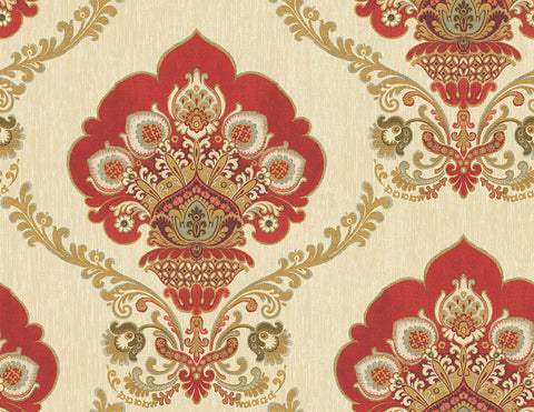 Ornate Fanned Damask Wallpaper in Red from the Caspia Collection by Wallquest